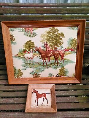 Lot of 2 Hand Crafted Folk Art Fabric Horses Horse Pony Framed Pictures