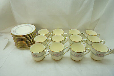 NORITAKE CHINA MAGNIFICENCE PATTERN CUP SAUCER SET 12 9736 PINK FLORAL JAPAN d