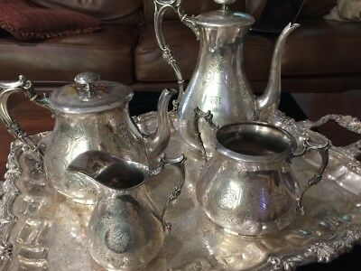 Elkington & Co. 1868 silver-plate coffee and tea set, hand engraved