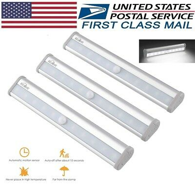 10 LED Light Bar Battery Operated Motion Sensor Detector Night Light 3PACK