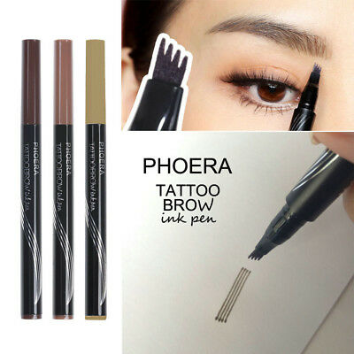 Microblading Tattoo Eyebrow Ink Pen Waterproof 4 Fork Tip Pencil Brow Definer