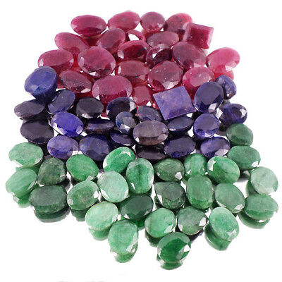 Certified 700Ct Natural Top Emerald,Ruby & Sapphire Mix Cut Gems Lot For Jewelry