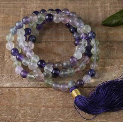 8mm Natural Fluorite Crystal blue Tassels 108 Beads Necklace yoga Mala
