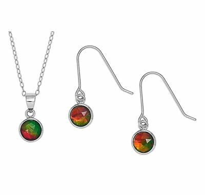 Korite Sterling Silver and Rhodium plated Ammolite Necklace Earring Set