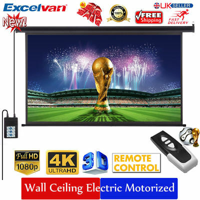 """100"""" 16:9 1080P Electric Motorized HD Projector Projection Screen Cinema Theater"""