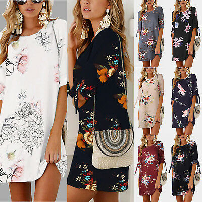 Womens Floral Long Tops Blouse Ladies Summer Beach Loose Tunic Dress Plus Size
