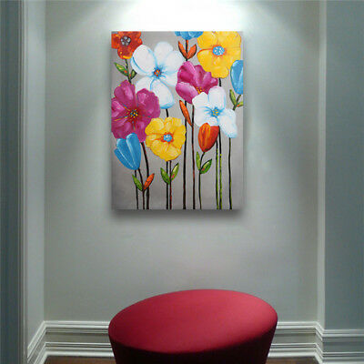 2Art Oil Painting Wall Home Decor Handmade Canvas Colorful Flower Framed Modern