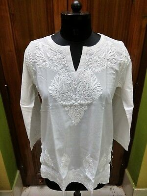S M L Xl 2Xl 3Xl Kurta 100% Cotton Top Handmade  Ethnic Chikan Embroidery Kurti