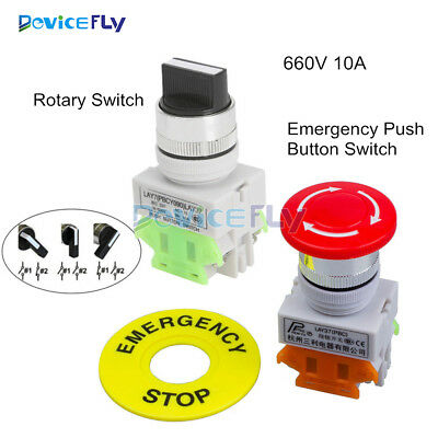660V 10A 1NO/1NC DPST Emergency Stop LAY7-20X/3 Rotary Three Position Switch