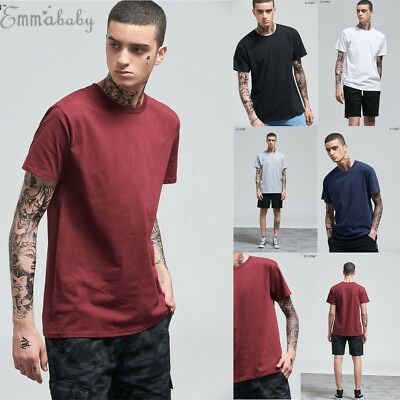 Softstyle Cotton Plain Blank Mens Casual O-neck T Shirts Short Sleeve Top Tee AU
