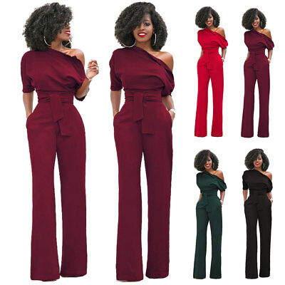 Womens One Shoulder Bodycon Bandage Long Clubwear Party Jumpsuit Romper Playsuit