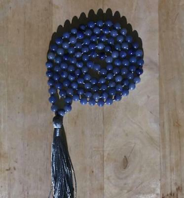 8mm Natural Aventurine blue  Tassels 108 Beads Necklace yoga Mala Buddhism