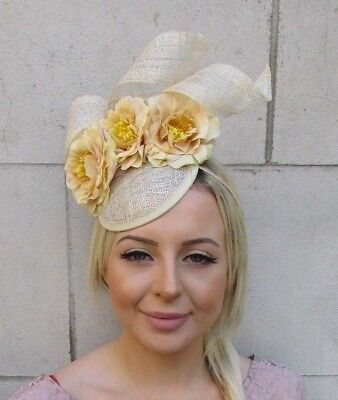Yellow Beige Rose Flower Sinamay Pillbox Hat Fascinator Races Hair Wedding 5947