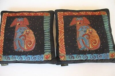 2 Laurel Burch Papillion Dogs Throw Pillow Cushion 18 Inch Square Velour Back