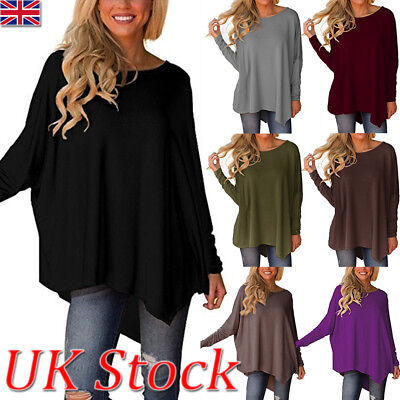 UK Women Asymmetric Long Sleeve Casual Tops Blouse Ladies Plus Size T shirt 6-24
