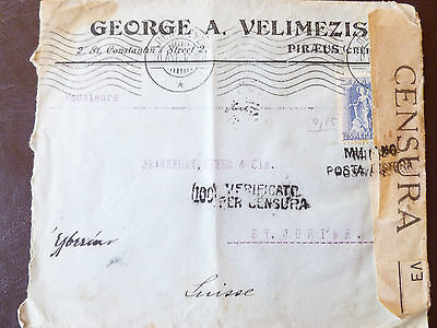 Greek Censored WW1 Cover 1917 with stamp sent to Switzerland