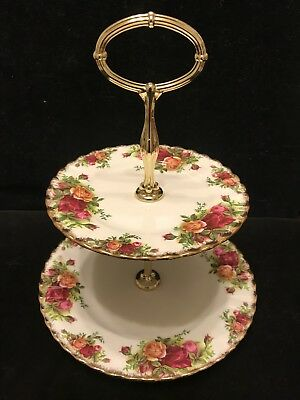 Vintage Royal Albert Old Country Roses Two Tier Cake Stand  Made In England