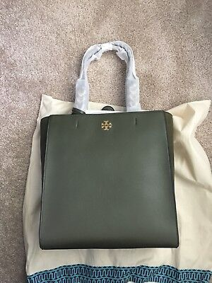 NWT TORY BURCH Brooke Tote Handbag Leccio Green Leather And Suede ... 5f2267ed39