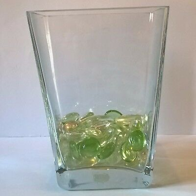 Superb Ikea Tapered Clear Glass Vase With Coloured Glass Pebbles
