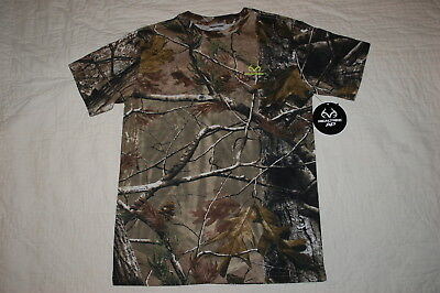 Boys S//S Tee Shirt REALTREE AP CAMO Brown Green Woodsy TWIGS LEAVES Size M L XL