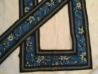 Vintage Antique Blue Silk Tiny Floral Embroidery Asian Trim Banding~3+Yds Nice!
