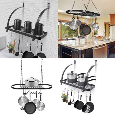 Wall Mount Pot Pan Hanging Rack Kitchen Cookware Storage Organizer