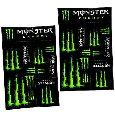 2x Monster Energy Drinks Logo Sheet of 12 Stickers Decals