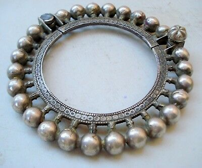 vintage antique tribal old silver bangle bracelet gypsy hippie indian