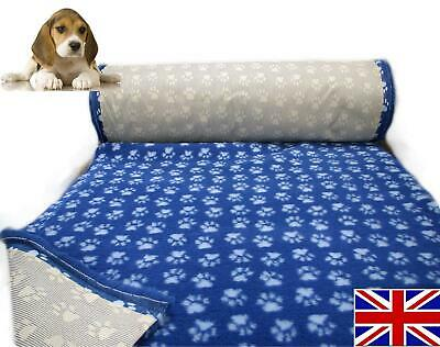 Blue with Paws Vet Bedding NON-SLIP ROLL WHELPING FLEECE DOG PUPPY PRO BED