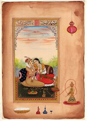 Mughal Emperor & Empress Love Miniature Historical Handmade old Paper Painting