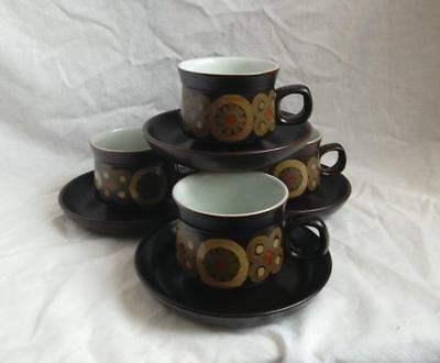 Denby Arabesque 4 x Tea Cups and Saucers