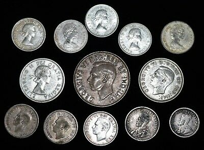 (13) Piece Canadian Silver Coin Lot - All in Very Nice Condition - ALL ONE LOT
