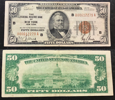 1929 Type 1 US $50 Fifty Dollar Federal Reserve Bank New York, NY ~ B00612279 A