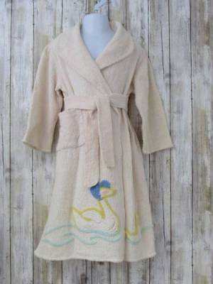 Vintage Boys Girls Chenille Bath Robe 4 5 Beige Yellow Ducks Shawl Collar Belted