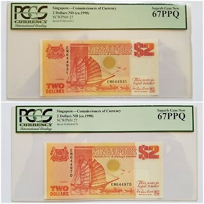 $2 X (2) <1990> Singapore Commissioners of Currency Superb Gem PCGS 67