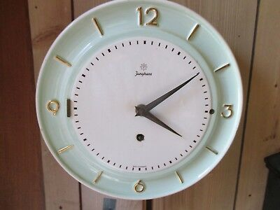 Junghans 8 day china plate style kitchen wall clock 1950 / 1960s