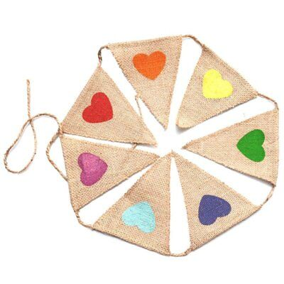 Vintage Bunting Flags with Cute Colorful Heart, Vintage Toys Fabric Jute Bu T5K1