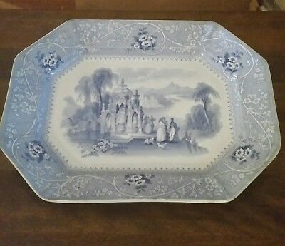 ANTIQUE 1840s W. ADAMS & SONS STAFFORDSHIRE-TRANSFERWARE PLATTER-COLUMBIA-18""