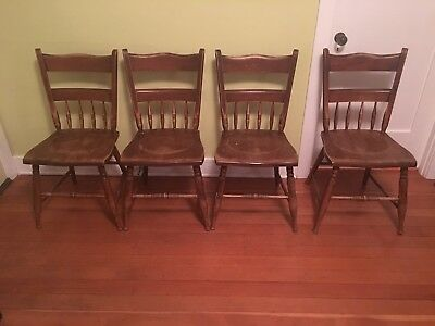 Antique Vintage 4 Wooden Chairs - 1940's 1950's - CHEAP