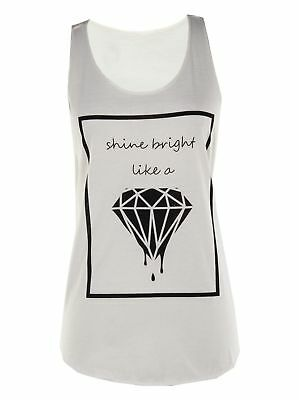 New Summer Women Off White Diamond Printed T-Shirt Blouse Casual Tank Top Vest