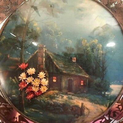 Antique Glass Frame Picture Print Mirror Cabin Convex Circle Scallop Cut Edge