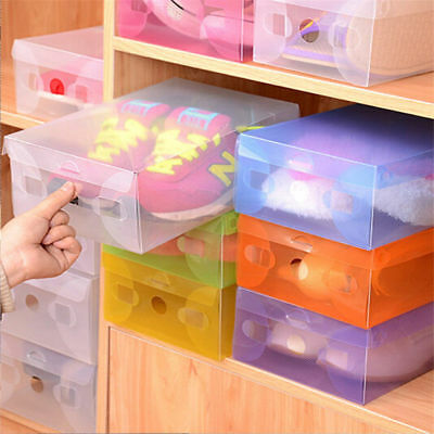 20 PCS Plastic Clear Shoes Boxes Home Storage Stackable Foldable Organizer Tidy