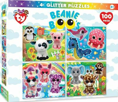 a8cb4afb695 Ty Beanie Boo 4 Glitter Puzzles 100 pcs. Each - Jigsaw by MasterPieces  (11587