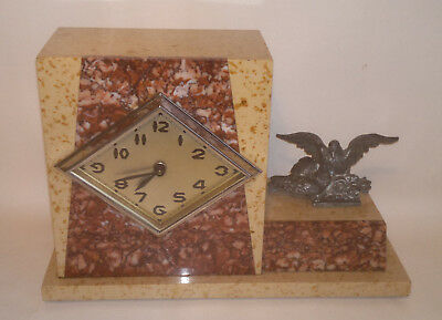 Art Deco M Bouchard Marble/Onyx Mantel Clock with Spelter Birds French