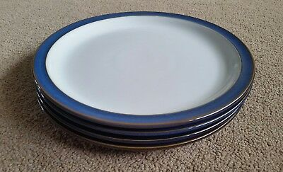 Set of four Denby Imperial Blue Dessert Plates. 8.5 inch diameter.