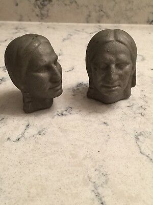 Vintage Indian Heads Cast Aluminum Pair Unusual
