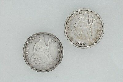 1876 & 1890 Seated Liberty Dime 10C 2 Coin Lot Vf / Xf Very Fine / Extra  (5411)