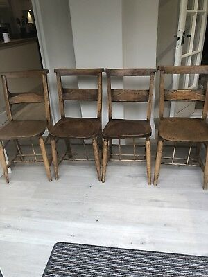 4 old church chairs