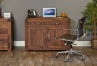 Shiro desk hidden home office hideaway computer solid walnut dark wood furniture