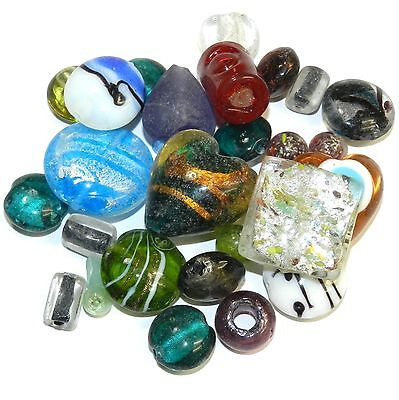 G4488f Assorted Color, Size & Shape 5mm - 29mm Lampworked Glass Bead Mix 4oz